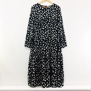 ASOS Black & White Sheer Tiered Maxi Dress Size 14